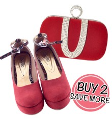 Kerry Clutch Red & Arimbi Wedges
