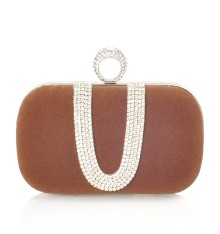 Kerry Velvet Clutch Brown