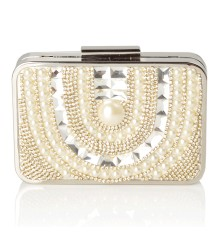 Aila Pearly Clutch Silver