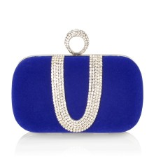 Kerry Velvet Clutch Blue